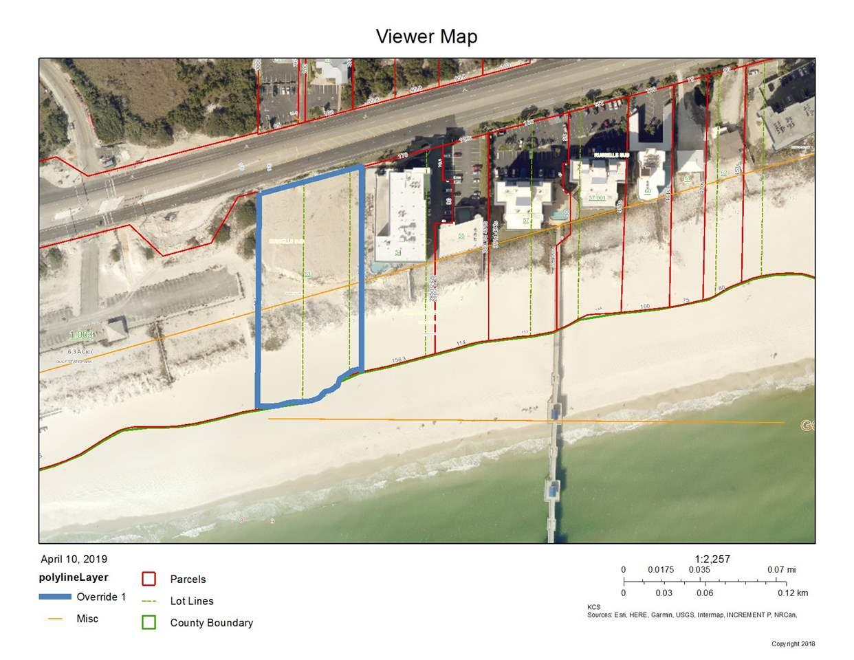 Great development parcel just east of the Cotton Bayou State Park and west of the Tides Best Western Premier Hotel.   Appr. 255 feet of frontage on the Gulf.  Gulf Front development parcel zoned BR-2 (42U/acre) with appr. 230' X 445'.  Appr. 2.35ac.   Great location for Condo development.  Approximately 99 units can be built per zoning code, all information to be verified with City of Orange Beach.