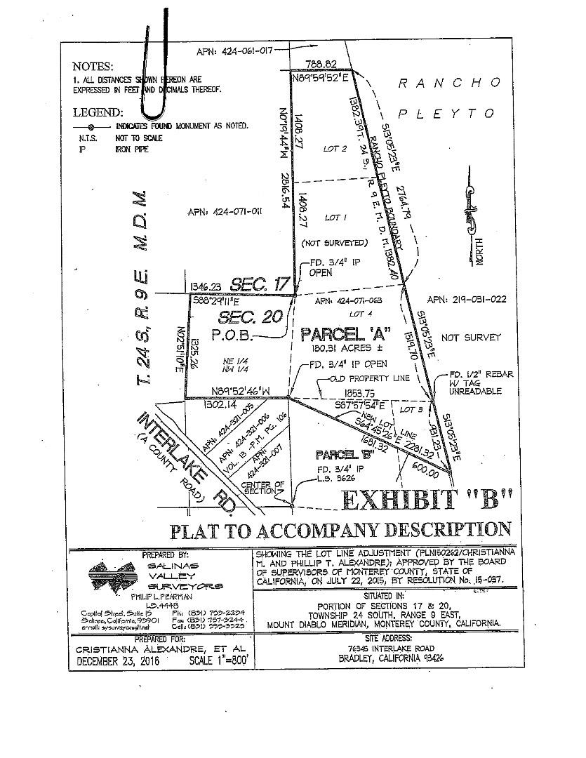 Земля для того Продажа на 76345 A Interlake Road 76345 A Interlake Road Bradley, Калифорния 93426 Соединенные Штаты