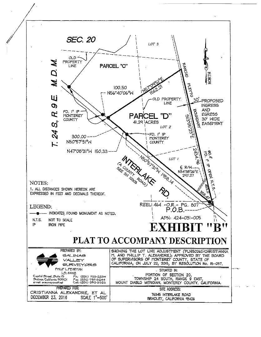 土地 のために 売買 アット 76345 D Interlake Road 76345 D Interlake Road Bradley, カリフォルニア 93426 アメリカ合衆国