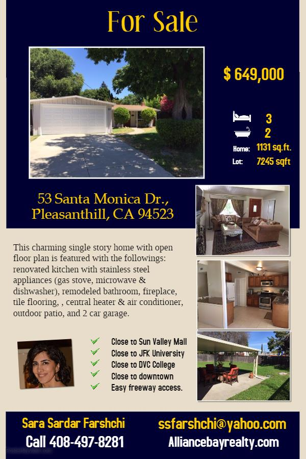 Additional photo for property listing at 53 Santa Monica Drive  Pleasant Hill, 加利福尼亞州 94523 美國