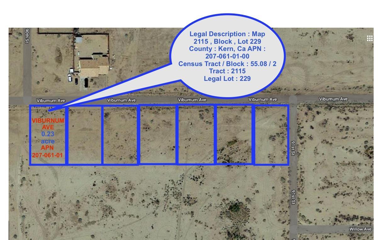 土地 のために 売買 アット 9000-9098 Viburnum Avenue 9000-9098 Viburnum Avenue California City, カリフォルニア 93505 アメリカ合衆国