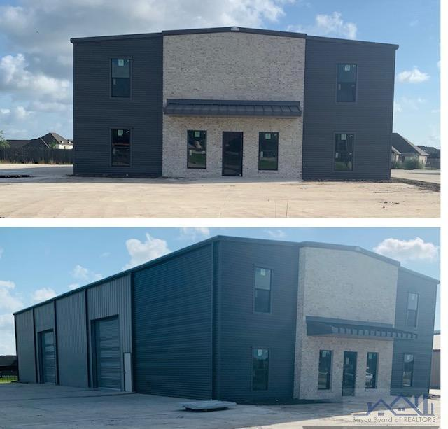 Building under construction in a GREAT location in the heart of Houma's commerical business park! Minutes away from Hwy 90 with easy access to Lafayette, Baton Rouge, New Orleans and Port Fourchon. 3 nice size offices, LARGE conference/breakroom, kitchenette, common area and lobby for a total of 1,228 sq. ft.  2 bathrooms (office and warehouse). 4,272 sq. ft. warehouse with 26 ft. ceiling height and two 14 ' x 14' roll up doors.  Upstairs area over office space is decked for additional office space or other space. Plenty of parking and access to large area in rear of building. This property is also for Lease for $5,000.00/month.  Call Listing Agent for appointment.