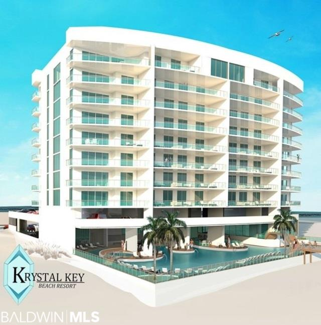 Welcome to Krystal Key Beach Resort, a collection of 30 luxuriously appointed 4- and 5-bedroom beachfront residences, all with unobstructed views of the Gulf of Mexico along 200 feet of stunning white sand and clear emerald water in Perdido Key, Florida just east of  the Alabama State Line Lush tropical landscaping with designated dune walkover (14) Corner Units with 4 bedrooms and 4 baths (14) Interior Units with 4 bedrooms and 4 baths including (2) gulf-front master bedrooms (2) Corner Penthouses with 5 bedrooms and 5-1/2 baths Granite countertops with breakfast bar in kitchen Gulf-front climate controlled lobby; Cabana/pool Indoor heated pool with therapeutic spa seating Outdoor pool with lazy river; zero entry kiddy pool Gulf front whirlpool spa Poolside owner's lockers Penthouse level Gulf front fitness center with lobby, separate dressing rooms, showers, wet and dry saunas 2 elevators to private, climate controlled owners lobby Owners storage in elevator lobby and master closets Private mail boxes for designated residents 3 parking spaces for 4 bedroom units; one reserved 4 parking spaces for Penthouse units; two reserved Trash chutes on each level Outdoor grilling area Pet walk with cleaning station