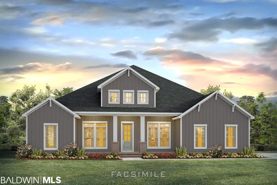"""NEW CONSTRUCTION by Emerald Homes... offering Luxury, Quality & Lifestyle.  Located just minutes from charming downtown Fairhope and gorgeous Mobile Bay, this HERON-A home features split 4 bed/ 3 bath, formal dining room + study with Smart Home technology.  Once inside, you'll discover a spacious open concept floor plan with 10'-12' ceilings, 8' doors, and tons of natural light.  Impeccable finishes and attention to detail are abundant in this elegant Craftsman style home.  The Gourmet Kitchen showcases Shaker style painted cabinets, granite countertops, built-in appliances, 5-burner gas cooktop with vented hood, Farmhouse sink, Subway tile backsplash, and an oversized culinary prep island overlooking the 17' x 31' Great Room with a gas burning fireplace.  Perfect for family gatherings and entertaining!  Dining Room personalization options available during building process.  Beautiful 5"""" plank hardwood floors in main living areas and Master Bedroom.  Luxurious Master sanctuary boasts dual vanity sinks, Garden tub, walk-in tile shower, and a huge walk-in closet with access to the laundry room.  Four-zone programable irrigation system, tankless gas water heater, mud bench off the garage and more!  This home is being built toward GOLD Fortified Home standards and comes with a 1 yr builders and 10 yr structural warranty.  Resort-style community amenities include a clubhouse, large spa like pool, outdoor grilling pavilion, children's play area, tennis, basketball court and Whiffle Ball field.   Seller will contribute up to $3,000 toward closing costs with preferred lender.  Interior photos are of similar home and not necessarily of subject property, including colors, options, and finishes.  Estimated Completion- Summer 2019."""