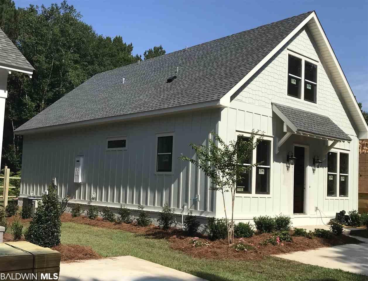 A new home is a clean slate, a chance for new wonderful memories. This home is no exception. You will have peace of mind knowing you have a 1 year builders warranty from custom builder, Ron Cuny of ARK Builders. Since the home is Gold Fortified (able to withstand up to 140 mph winds) when you get your home insurance quote it will totally surprise. This home was designed by ARK to use every inch of space in the most efficient way. Features: open concept | 4 bedrooms | 3 baths | 1865 sq ft | (no garage) parking pad in front with a detached entertainment area (covered) in back with storage | Gold Fortified | hardwood/tile/carpet (upstairs) | master en-suite downstairs | shake style cabinets | stainless steel appliances | gas log fireplace with gas starter | master bath has water closet, 2 walk in closets, dual vanities, walk in shower | bedroom 4 could be a loft | extra walk in storage (heated & cooled) upstairs + decking in attic for storage | fenced | irrigation system (front and back yard) | Fairhope schools | less that 1 mile from town. You will love the beauty and peace of mind with a new custom home…and all under $400,000 in downtown Fairhope! (Listing agent is related to the builder (seller).
