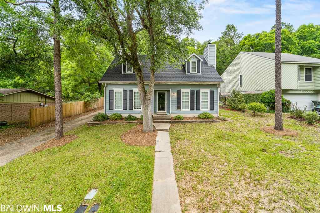 Under $150,000 in Daphne! This home has a new roof, new A/C, new hot water heater, and new carpet! Three bedrooms and two bathrooms with just over 1600 sq/ft on a quiet culdesac street with a very private backyard. Living room and dining room combo has wood laminate flooring. The kitchen has an island and a breakfast nook. Master bedroom is downstairs and has new carpeting and an attached bathroom. The two guest bedrooms also have new carpeting and are located upstairs along with a full bathroom. Laundry room leads to the covered carport. Off the carport is a 10x15 cooled workshop not counted in the square footage. This house has all the major work done -- just bring your paint brush and work on the cosmetics and soon this house will be better than new. The back yard is fenced with a large patio area and it backs up to the woods so it is very private and no rear neighbors!  Located in Lake Forest near the recently renovated Montclair pool and new playground. The Lake Forest community has multiple pools, a horse stable, a yacht club and a golf course - all conveniently located in the heart of Daphne. Home was previously a rental and current property taxes do not reflect the homestead credit.