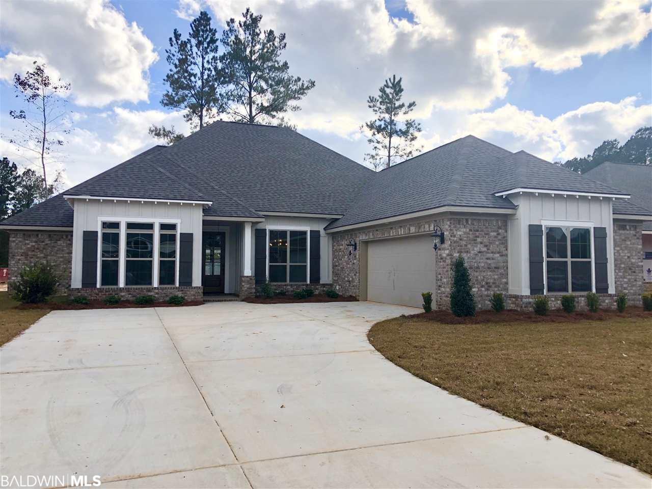 The Florence with Keeping Room is a spacious 4 bedroom 3 bath home and has a 13' x 15' keeping room to significantly expands the options for entertaining guests, family and friends. Fox Hollow features wooded lots conveniently located near shopping, schools, restaurants and medical facilities. This split floor plan offers a large open kitchen with Stainless Steel appliances, 5 burner gas cook top, granite counter-tops and custom built cabinetry opens into the living room with gas fireplace and windows galore; allowing plenty of natural light. 6 zone irrigation included. Fox Hollow has a 2 ac lake stocked with fish for residence only. Built to Gold Fortified Standards to help reduce insurance cost. It is protected by a 2-10 Home Buyers Warranty. It comes with a 11 item CONNECTED HOME package. Fox Hollow is a Fairhope Single Tax Property. Estimated completion date is Jan-Feb 2020.