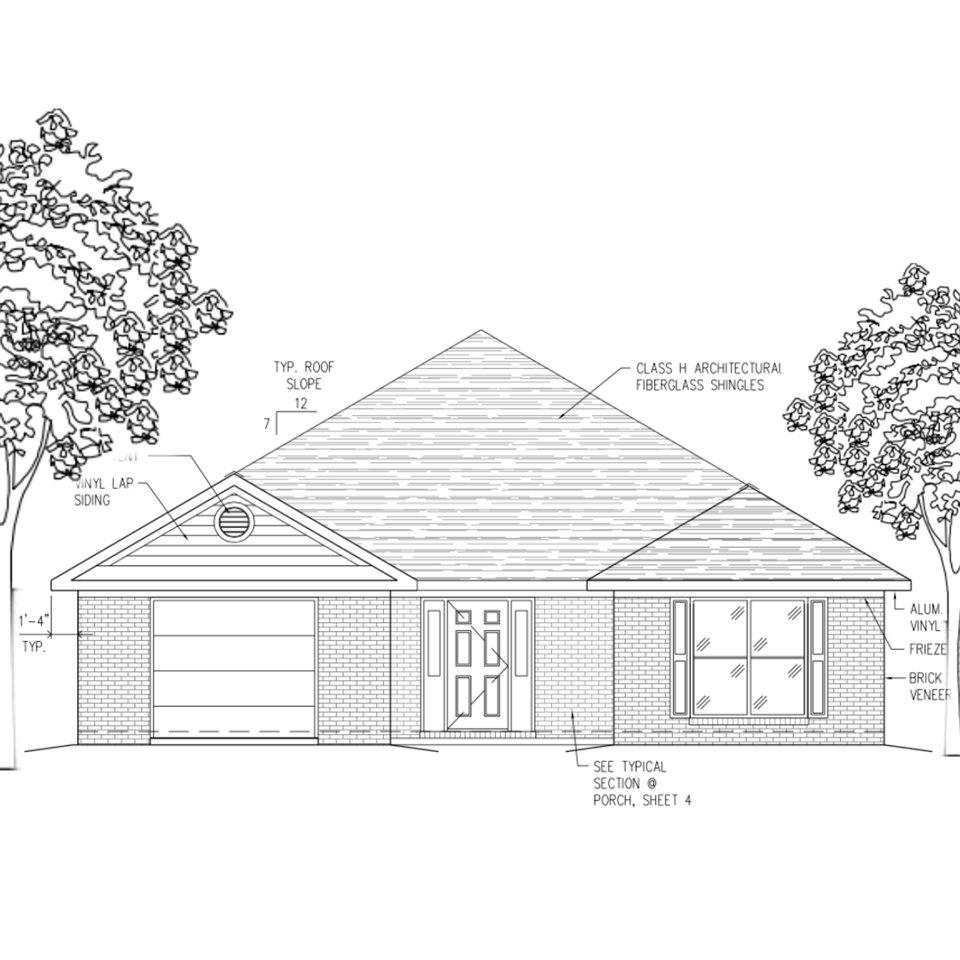 Fortified, New Construction, brick home in the established neighborhood of Lake Forest!  Split Floor plan with 3 bedrooms and 2 bathrooms on a quite street, with a 1 car, attached garage.  Convenient location seconds away from the Main St. (West) entrance of Lake Forest for quick access to I-10 for commuting to Mobile or Pensacola, as well as about an hour from the white sands of the Gulf of Mexico, AND convenient to shopping and restaurants.  Durable, Luxury Vinyl Plank flooring through all common areas, carpet in bedrooms.  Large kitchen, with stainless steel appliances. 30 year architectural shingles, and neutral paint colors for a relaxing and inviting style! With the comfort of a builders 2-10 warranty, you can't get much better in Daphne for under $200K!  FORTIFIED certificate gets you 40%-50% off your home owners insurance!  Don't forget about ALL the amenities of Lake Forest including Lake Forest Yacht Club and marina, Lake Forest Country Club with a full service clubhouse with Pro Shop, restaurant, locker rooms, showers, lounge, three swimming pools, playgrounds, tennis amenities and volleyball court adjacent to the pool in addition to picnic tables and charcoal grills. Lastly, access to the Lake Forest stables. Completion expected for June/July 2020.  Seller will contribute up to $3,000 toward closing costs with preferred lender.