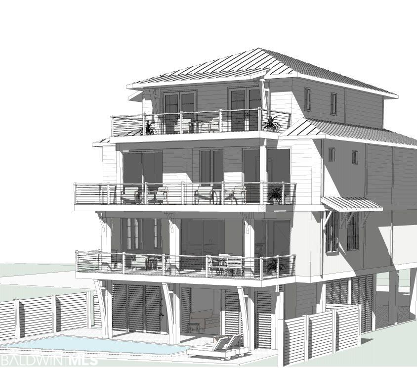 The Bluffs is an exclusive new beach front development in Orange Beach! Lot 1 is directly Gulf Front and will have six bedrooms and six & 1/2 baths.  Each lot at The Bluffs will feature gold fortified construction by Phil Harris, a top floor master suite, private gunite pool with lanai & grilling area & 1 parking space for each bedroom along with fiber optic internet capability. Each home will have wood floors throughout, an elevator to all floors, impact resistant doors & windows, solid core interior doors, metal roof, hardi board exterior, outdoor shower & multiple lockable storage closets. Kitchens will offer a large island, quartz counter tops, pantry, custom cabinetry with Wolf/Sub-Zero/Thermador appliances. There will be a large utility/laundry room, wet bar, 10' ceilings on main level, 9' ceilings for bedroom levels. Baths will feature tile floors and showers with quartz counters. The gulf-front residences will feature a private dune walkover and all other residences will have a community dune walk-over. Each home in The Bluffs will offer one parking space per bedroom plus additional community parking for guests. The Bluffs will have a 3 night minimum rental. The Bluffs are unfurnished, photos and drawings are representative.