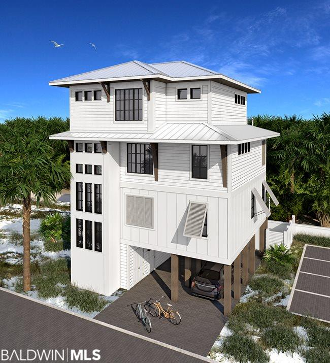 The Bluffs is an exclusive new beach front development in Orange Beach! Lot 7 will have four bedrooms and four & 1/2 baths. Each lot at The Bluffs will feature gold fortified construction by Phil Harris, a top floor master suite, private gunite pool with lanai & grilling area and 1 parking space for each bedroom along with fiber optic internet capability. Each home will have wood floors throughout, an elevator to all floors, impact resistant doors & windows, solid core interior doors, metal roof, hardi board exterior, outdoor shower & multiple lockable storage closets. Kitchens will offer a large island, quartz counter tops, pantry, custom cabinetry with Wolf/Sub-Zero/Thermador appliances. There will be a large utility/laundry room, wet bar, 10' ceilings on main level, 9' ceilings for bedroom levels. Baths will feature tile floors and showers with quartz counters. All non gulf-front residences will have a community dune walk-over. Each home in The Bluffs will offer one parking space per bedroom plus additional community parking for guests.  The Bluffs will require a 3 night minimum rental. The Bluffs are unfurnished, photos and drawings are representative.