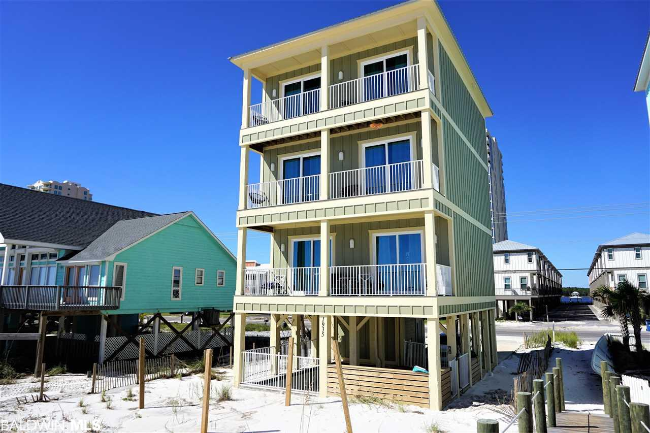 New Direct Gulf Front 5BR / 7BA Gold Fortified home on West Beach with private swimming pool. Den on 3rd floor could be bunk room. Two wet bars. Heated & cooled entryway. Custom built home with upgraded interior finishes. Solid plank flooring & recessed lighting throughout, 3 large beachfront covered balconies off of the main living area and four of the bedrooms with gorgeous views of the sugar white sands and sparkling Gulf waters. Custom cabinetry and 3 cm granite throughout. Stainless appliances including side by side refrigerator. Stacked full sized washers & dryers on 1st and 3rd floor. Set up for large vacationing families and groups. Selling Furnished with Fabulous views from every room. Great vacation rental investment!