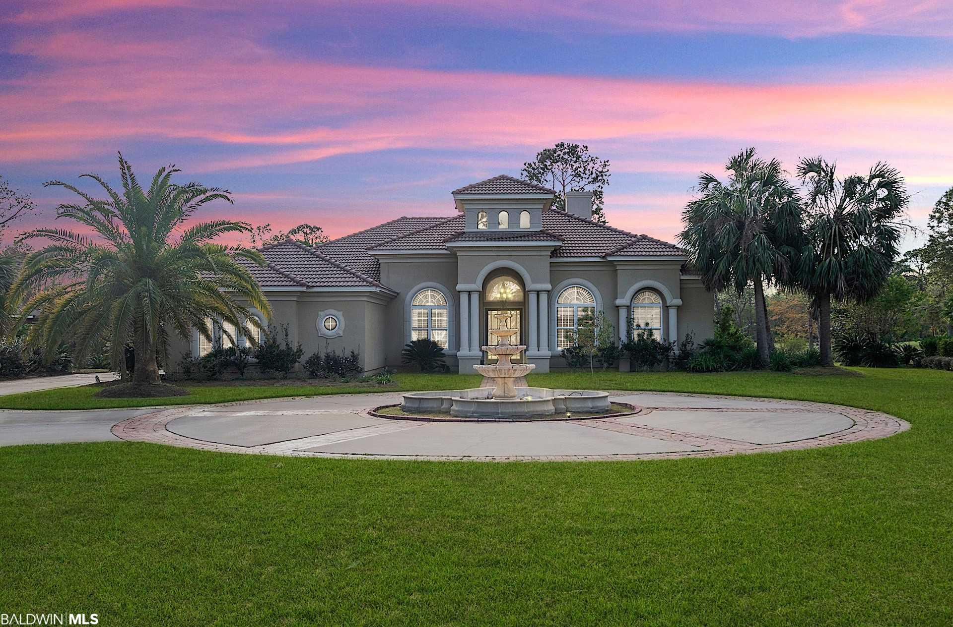 Own in the exclusive gated community of The Estates for Craft Farms overlooking the 16th fairway of the Cotton Creek golf course.  This luxury Arthur Rutenberg designed Mediterranean style home wows immediately when you drive up to the elegant circular driveway with brick inlay & free-standing fountain.  Inside the home features upscale travertine floors, dining room with built-in buffet & lighted wall sconces, separate living room with gas fireplace, and open-concept kitchen overlooking the great room.  Kitchen has all matching GE Monogram stainless appliances, 5-burner gas cooktop, sink in chef's island, and walk-in pantry.  Butler's pantry featuring wet bar with wine cooler & ice maker leading to the dining room from kitchen.  Master suite features his & her separate custom closets & individual vanities in master bathroom, large walk-in tiled shower, and jetted soaking tub.  All rooms at the back of the home have a stunning view of the pool & spa through wall-to-wall & floor-to-ceiling sliding glass doors.  This home is a dream for entertaining because sliders completely open to pool area with outdoor Vermont Castings gas grill & vent hood, gas fireplace, and covered gazebo.  During cooler months, enjoy entertaining in the 20x14 recreation room that includes a beverage bar with refrigerator & microwave and is large enough for a billiard table or theater room.  Private office with cherry wood floors and built-in shelves.  Large two-car garage & golf cart garage. Schedule your private showing today!