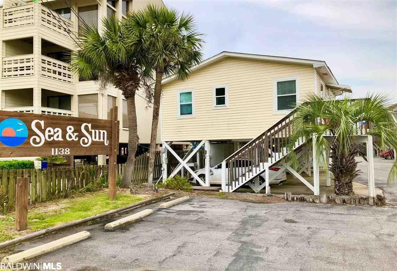 """Welcome to Sea & Sun condos in the heart of sunny Gulf Shores. This beach condo is your opportunity to own a slice of the Gulf Shores lifestyle where life is set on """"beach time"""". This unit has deeded beach access.  The entire unit has 18 x 18 tile floors which works well for sandy or wet feet. This unit is being sold furnished which includes the refrigerator, microwave and stove.  Low condo fees include cable, internet, water, sewer, trash, landscaping and master insurance.  This unit has a new heating and cooling unit both inside and outside plus the entire complex has recently had a new roof. There was a storm assessment and the seller is paying it off at closing.  As you can tell by the pictures, this unit won't last very long so call for your appointment today!  No showings unit January 24th per the renter."""