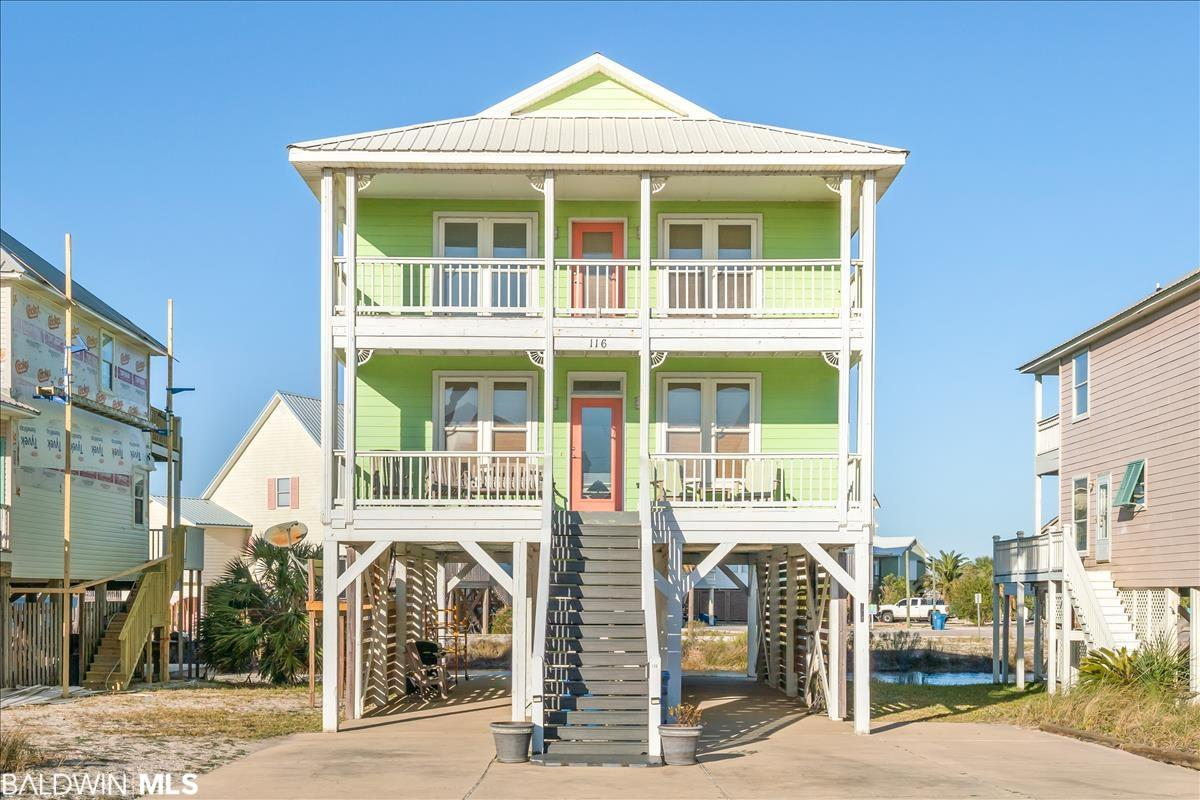 This is the perfect Gulf Shores home! Close to the beach, but with Lagoon access for boating and fishing. Lagoon Pass Subdivision shares 3 piers and a boat launch. There is so much to love about this home! There are 5 bedrooms, 3.5 bathrooms, balconies with fabulous views on both the front and the back of the home on both 1st and 2nd floors. The home is professionally decorated and freshly painted. There is a downstairs utility room for storage. There is paved parking for 6 vehicles. Great rental income! Conveniently located near many restaurants, the Hangout, Waterville and so many fun attractions.   **Link to Virtual Tour** https://player.vimeo.com/video/502639674
