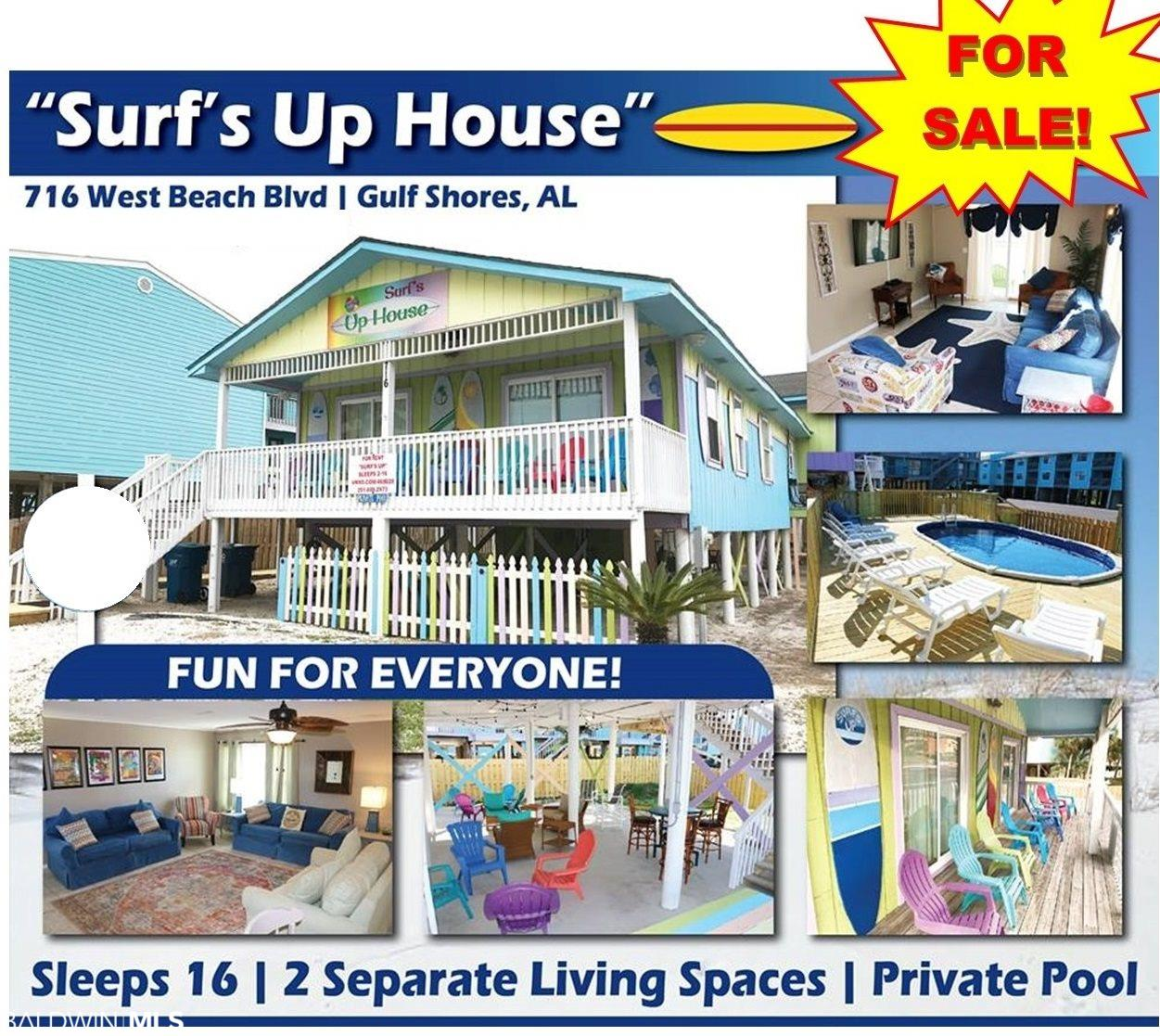 """YOU'VE SEEN IT!  YOU'VE ASKED ABOUT IT!  NOW THE MOST UNIQUE PROPERTY ON WEST BEACH """"THE SURF'S UP HOUSE"""" IS FOR SALE!        TURN KEY, RENT READY MONEY MACHINE!    THIS PROVEN REVENUE PRODUCER HAS DEEDED BEACH ACCESS!  SLEEPS UP TO 16 GUESTS!  STAYS BOOKED!   ******        Private swimming pool for SURF'S UP guests only plus parking for 15+cars. Plenty of room for boats, jet skis, and RV's.  No HOA fees!        This turnkey property sits on a giant 100' X 120' (double) lot and has everything a vacation group or family would want.  2 separate living areas, lives like a duplex----3 bedroom/ 2 bath main house with sleeper sleeps 8.  PLUS One bedroom/1 bath separate (but attached) apartment has a double queen bedroom and 2 queen sleepers (sleeps 8).  2 separate full kitchens, 2 dens. Ceramic floors throughout. Granite countertops and custom backsplash in both units. New furnishings in 2020. Over $100,000 in upgrades! ******  The outdoor living area is amazing- complete with hammocks, outdoor television, bluetooth speakers, bistro lighting, basketball goal, charcoal grill, cornhole, dart board---solid rental history for years!        Nearly $100,000 in rentals in 2020.  Over $70,000 on the books for 2021!       5 star rating on VRBO, Premier Partner. More than 90 great reviews.              EXTRA BONUS-----This property is zoned Business/Tourism so you can even convert to restaurant or retail.               MUST SEE!"""