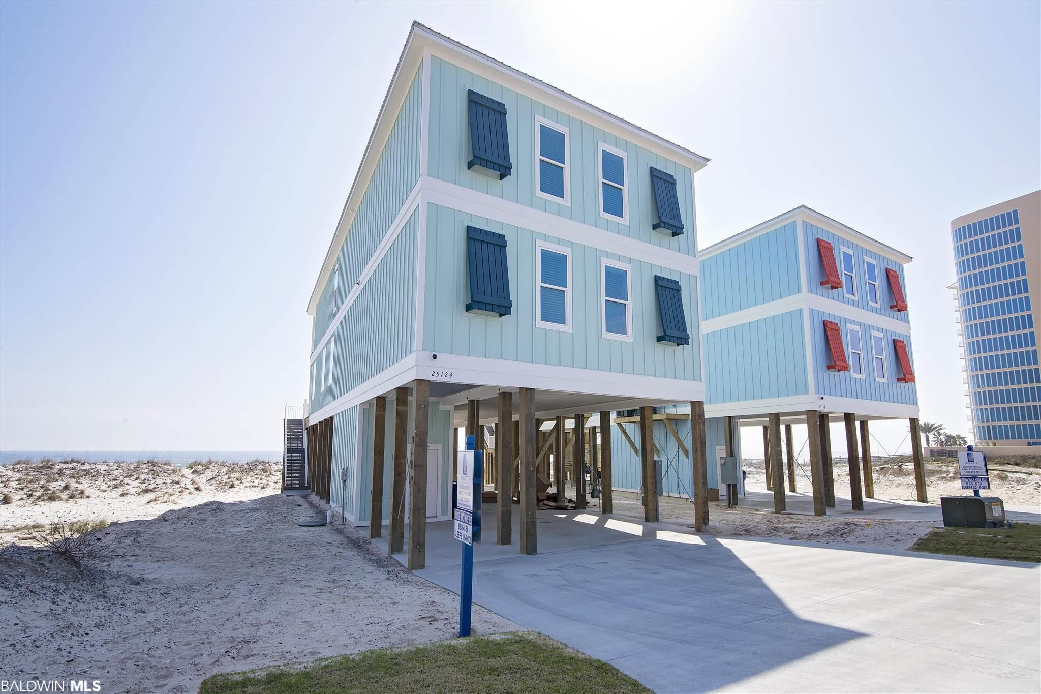 This 8 bedroom, 7.5 bath house sits directly on the white sands of Orange Beach with breath taking views of the Gulf of Mexico. The home is a raised 2 story coastal dream with cool and neutral colors throughout. Features of the home include Shiplap, high ceilings, beautiful granite counter tops, stainless steel, and LVP flooring. The home offers an elevator, security system, and a private pool on the deck that is seasonally heated. This is the perfect rental investment providing sleeping arrangements for up to 28 and enough parking space for 12 vehicles.