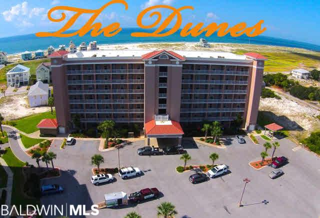 AMAZING VIEWS in this Great Rental for Ft Morgan . Available to SHOW on 9-20 after noon to 4PM on 9-24. One Bedroom with TWO full baths & twin size Bunk beds.... sold furnished. Great View of pool. Walking distance to new marina with indoor boat storage. Large Private balcony! Twin size Bunk beds across from 2nd full bath and can sleep up to six with a sleeper sofa. Great View of Gulf and the pool is just down and to the left. The Dunes Condo has gated Entry and covered drop-off for passengers and groceries. Covered BBQ Area and its just a short walk to the beach or the Bay. Dues included everything but power (averages 100/month and internet @35/month. So you only need an HO-6 Policy for contents insurance which is under $500/year. Great Rental, Ask for details! Top floor means no one is above you!!!! Agent is related to seller