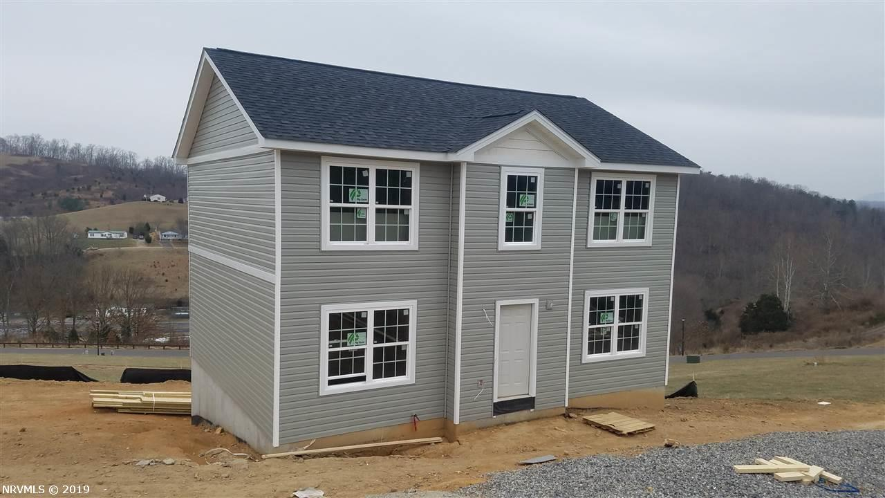 This brand new Colonial Style Home is located just 15 minutes to VT and has long range beautiful mountain views! This home features a open floor plan and a generous master bedroom suite w/ large walk-in closet. This home comes equipped with a large walk out basement for future expansion. Beautiful concrete driveway. Save tons of money on this brand new home by living just a few minutes outside Blacksburg and Virginia Tech!! This is a Great Buy! Community includes walking trails, picnic shelters, playgrounds and best of all your grass gets cut for you.