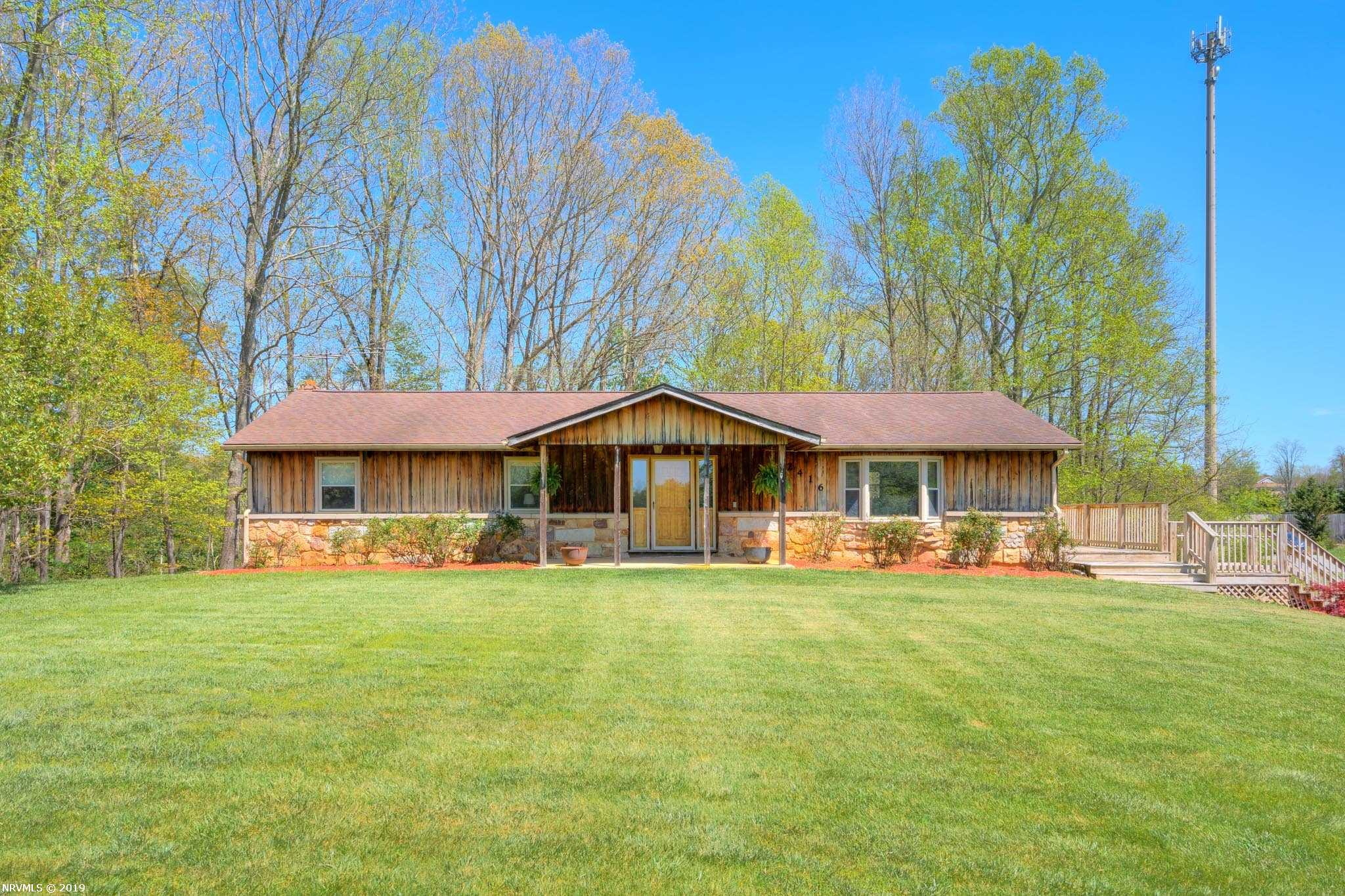 Come see this wonderful custom built home! All doors, cabinets, molding, and rock foundation were hand built by the seller. You'll love the creek frontage and view from the large wrap around deck, perfect for entertaining this fall. This home offers room to grow and has a perfect pasture for horses or other live stock. Secluded and peaceful, you are still only 5 miles from shopping in town limits and 6 miles from Lane Stadium!