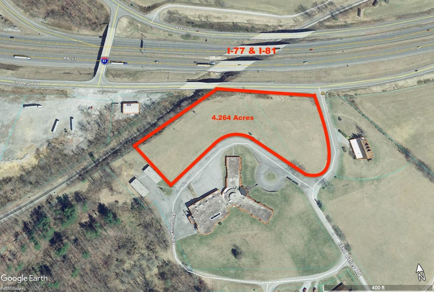 These 4 acres are prime commercial real estate for this part of the county. Sitting directly off of exit 73 off of I-81/77, there are thousands of cars that pass this spot every single day. Easy access means it is perfect for retail, restaurant, hotel and other business endeavors. An opportunity like this doesn't come along often, and is a great place to showcase your business like never before. Schedule a showing today!