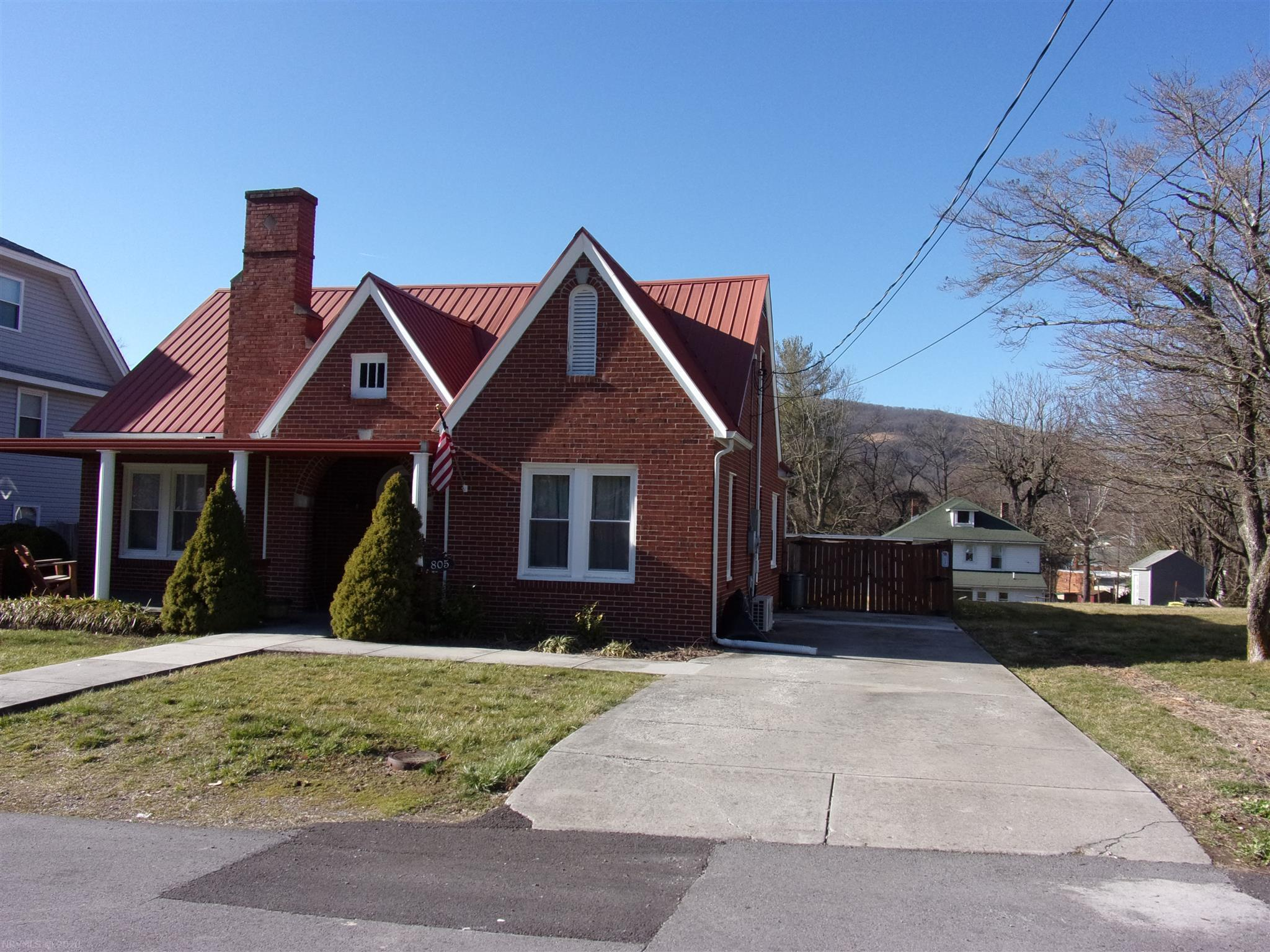 Lovely brick cape cod, 3br, 1 ba, New metal roof, new windows, front porch, back deck, fenced yard, Hot Tub, new windows, new carpet with Hardwood under, full basement,HP, gas logs, Cozy home at a great price.  A must See!