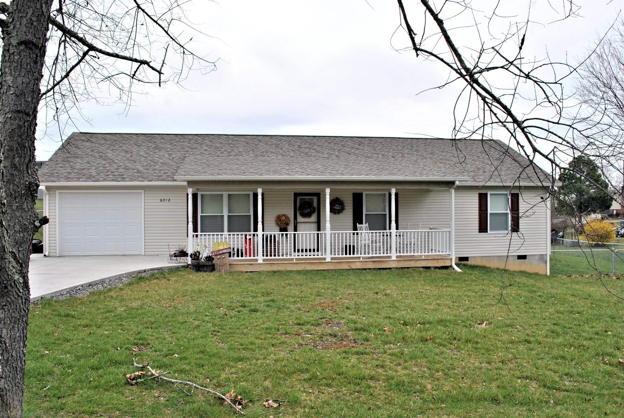 Move-in ready three bedroom, two bath ranch home with a covered front porch, single car garage, large flat fenced-in back yard with garden shed and concrete driveway. Beautiful vinyl plank floors throughout the home and the eat-in kitchen with stainless steel appliances, leads to back deck.  Nice vaulted ceilings in Living Room. This sweet home is located in a quaint Dublin neighborhood is less than 10 minutes from New River Community College and I-81.
