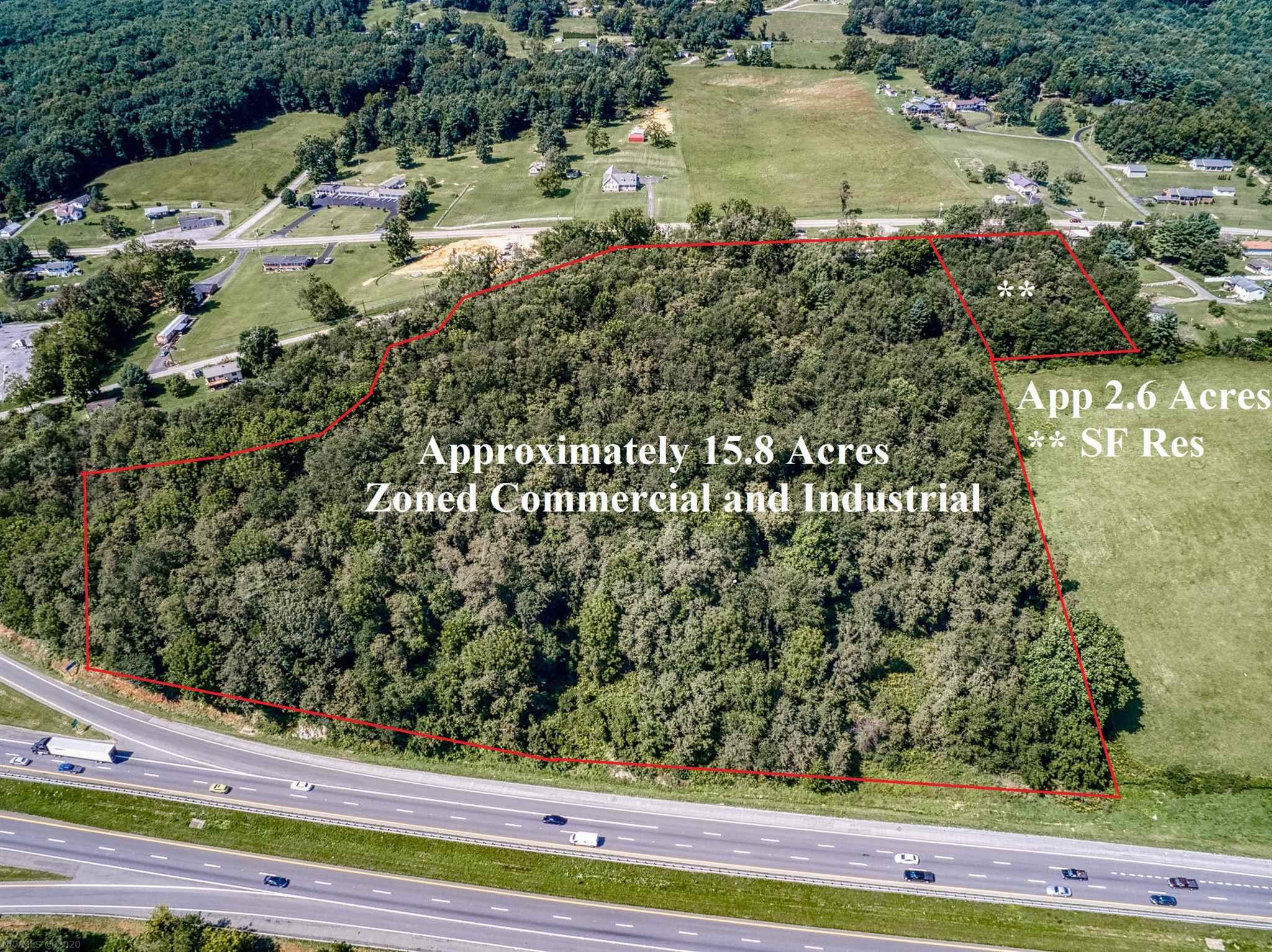First time available! This easy-access and high-visibility property adjacent to I-81 is just off exit 84 with close proximity to a busy established truck stop.  With approximately 18.4 acres fronting on two access roads, the possibilities are endless.  The bulk of the property is zoned Commercial and Industrial, which presents opportunities in hospitality, retail, services and much more!  Public utilities available.
