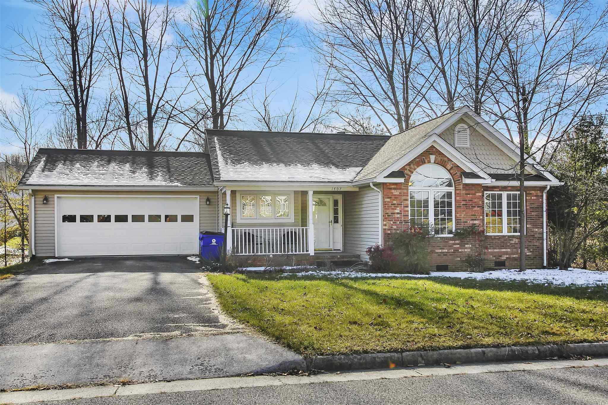 Beautiful 3 bedroom, 2 bath, one level home with 2 car garage located in Blacksburg inside town limits!  Very convenient to 460 and the bus stop is just an 8 minute walk away!  At the cul de sac just a couple hundred feet away is the entrance to a community walking path that extends almost to North Main.  Great deck to relax on with a creek flowing behind the back yard.  Lots of natural light inside.  Master bedroom has a large walk-in closet and the en suite bathroom includes a jetted tub, as well as the shower and toilet separated with a pocket door.  Living room has a wood fireplace and built-in bookshelves.  Come look at this home today and imagine yourself living here.  3D Matterport virtual tour linked above.