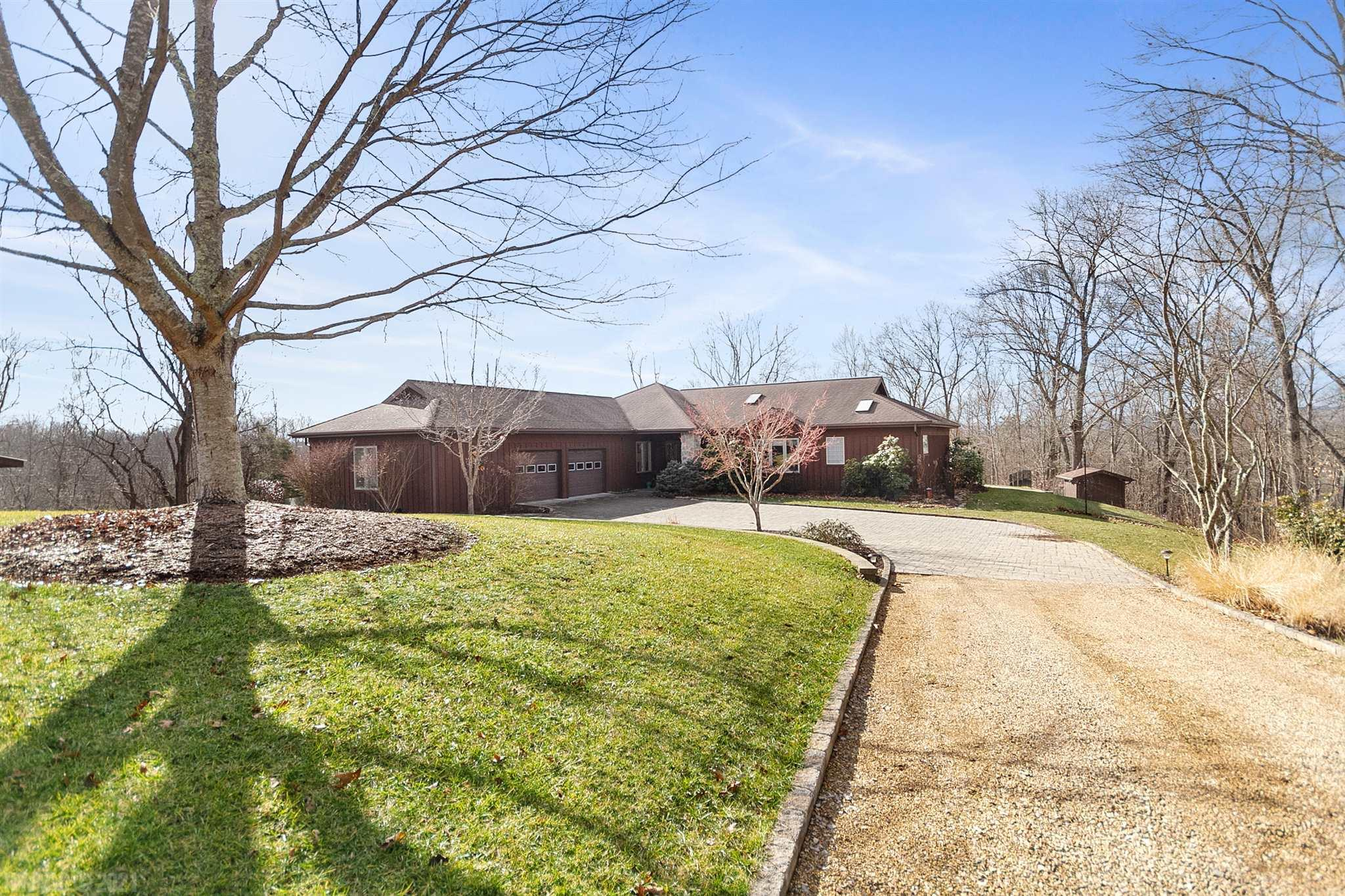 "This custom-built home is a rarity –impressive post and beam interior, exceptionally well-maintained, updated, with both attractive and useful features, one-floor living, over six acres in secluded yet easily accessed Blacksburg area neighborhood.  Read the list in ""documents"" to discover even more details.  You can even bring your horses!  Have you ever wanted a sauna?  That's here, too!  Interior features too many to list. Great room with vaulted ceiling is open and airy, with stone fireplace.  Vaulted ceiling master, opening to patio, has custom closet and luxury bath complete with heated floor and towel racks.  The garage includes an insulated shop and storage room.   Outside, the brick patio features a Holland grill and Bose speakers; a custom paver driveway; a pole-barn style garden shed and the stand-alone sauna building, both aesthetically coordinated with the home. Room dimensions only approximate, buyer to verify."