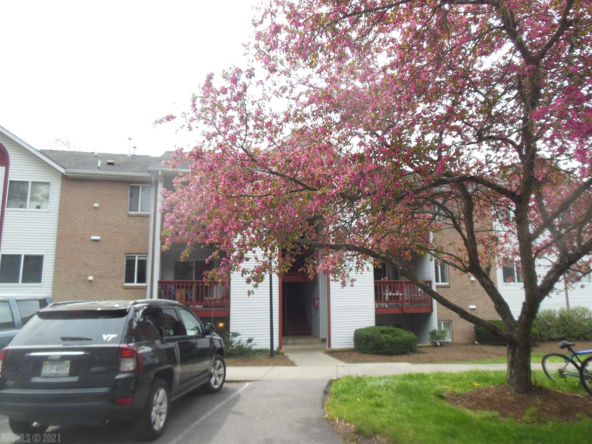 Walking distance to VTech campus, down town, eateries, entertainment, shopping, etc. Large rooms, light with large windows, beautiful deck and full kitchen. The condo is rented out till 2022, and is managed by the owners.  New braided alarm system to W/D, toilets, water heater. Gas heat, Electric AC. HOA is $165/ month which covers the water/sewer and trash pick up.
